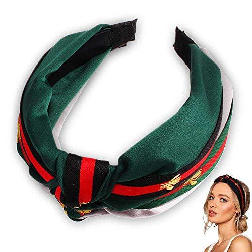 irnbänder für Frauen, Nette Kreuz-Knoten-Haarbänder mit dem Stoff eingewickelt für Mädchen, rote grüne Streifen-Haarbänder mit Bienentier (Grün) ()