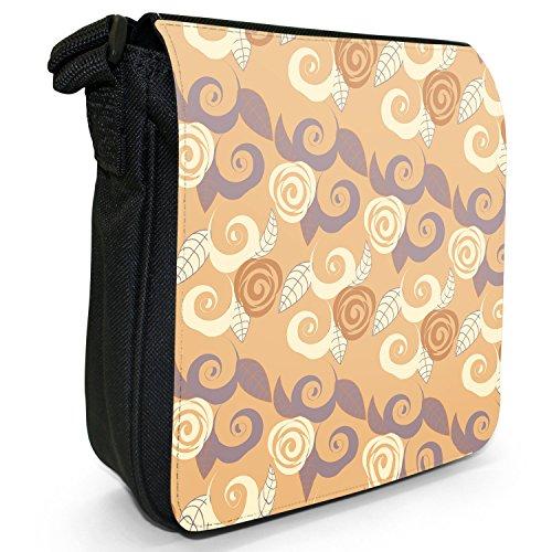 Schöne Muster Creme Beige Braun Kleine Schultertasche aus schwarzem Canvas Blätter & Blumen in Drehung