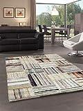 Merinos - Tappeto Marocco, motivo quadrato, certificato Öko-Tex, 100% Merilon Frisee, multicolore e beige, Bunt & Beige, 120 x 170 cm