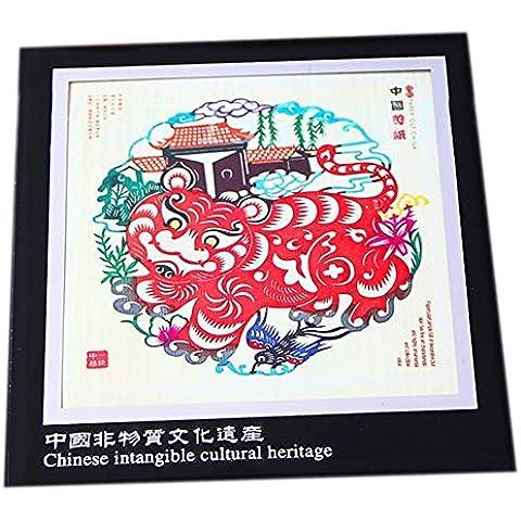 Marco de Imagen Corte de Papel Hecho a Mano Tradicional Decoración de la Ventana Colores SESX Tigre