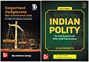 UPSC Preparation Combo - Indian Polity + Important Judgments that Transformed India (Set of 2 Books)