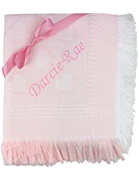 Baby Girls Super Soft Pink Personalised Embroidered Shawl