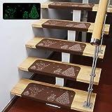 Viktion Leuchtend selbstklebend Anti Rutsch Stufenmatten Treppen-Teppich Treppenstufen Weihnachten 55 * 22 * 4.5cm in Kaffee (10 Stück)