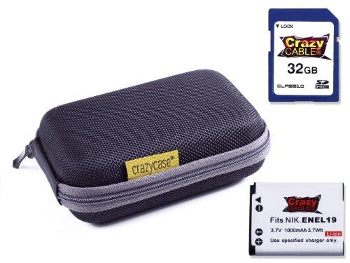 crazycaser-sdhc-bateria-set-con-estuche-para-camara-hardcase-crazy-negro-tarjeta-de-memoria-32-gb-cl