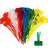 FIVE BEE 250 Stks 6 Inch 6 Kleuren Zelfvergrendelend Koord Tags Marker Label  Ethernet-draad Zip Ties Nylon Kabelbinders Marker Ties met Schrijf op Cable Tag