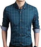 AIYINO Fashion Men Casual Long Sleeve Slim Fit Button Down Checked Dress Shirt In 8 Color UK M Acid Blue