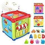 Giocattoli per cubetti di attività per bambini, Giocattoli educativi per bambini da 12 a 18 mesi 1 2 3 anni Ragazzi e ragazze, selezionatore di forme per bambini e giocattoli musicali per pianoforte