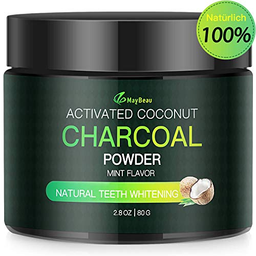 Aktivkohle Pulver Zahnaufhellung 80g MayBeau Groß Premium Kokosnuss Natürliche Coconut 100% Activated Charcoal Teeth Whitening Powder Bleaching Zahnreinigung für Weiße Zähne Mint Flavour -