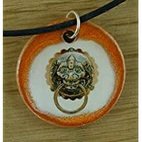 Orginal handicraft: doorknocker; castle, old, vintage, door, lion, jewellery, jewelry, handcrafted necklace, best gift, art, ceramic