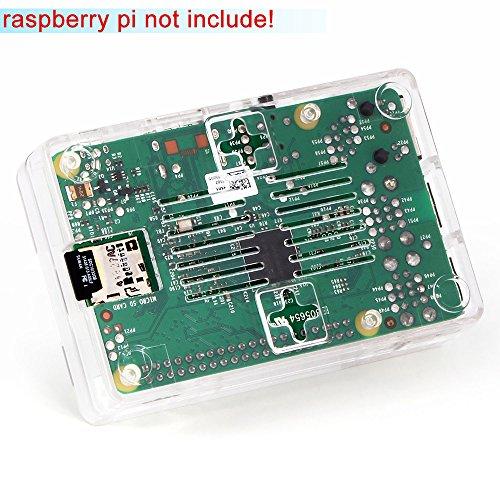 51onIOD%2BgyL - Aukru NUEVO 3-EN-1 Kit de Raspberry Pi 2 Modelo B / B + transparente Caja + 5v 2000mA alimentación + 3 conjunto del disipador de calor
