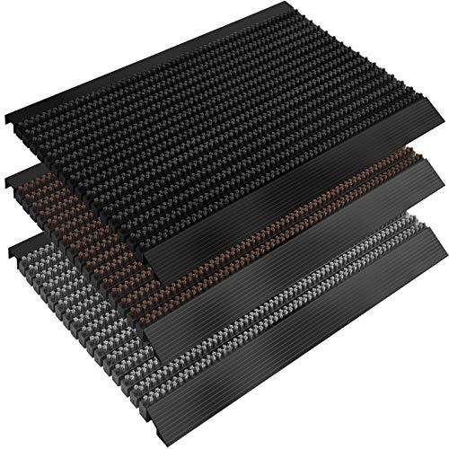 casa pura Fußmatte Power Brush mit Hochleistungs-Bürsten | TÜV geprüft | rutschfeste Schmutzfangmatte mit Anlaufprofil | Bürstenmatte für draußen Größen (grau, 50x80 cm)