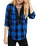 Cindeyar Damen Kariert Blusenshirt V-Ausschnitt Langarm Hemd Locker Bluse Casual Langarmshirt Oberteil Tops (Schwarz + Blau, XL)