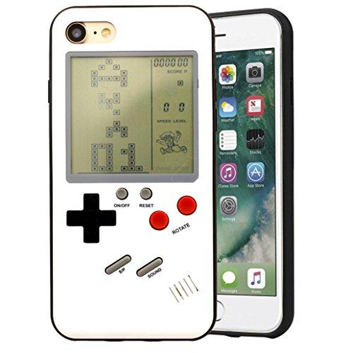 F-FISH Estuche iPhone X / 6 / 6s / 7/8 Plus Funda de Estuche ABS Estuche Protector Que Puede Jugar al Juego clásico [Gameboy] [Tetris] (iPhone 7/8 Plus, Blanco)