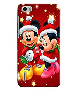 Blue Throat Micky And Mini Mouse Hard Plastic Printed Back Cover/Case For Huawei Honor 6