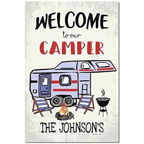 HSSS Personalisiertes Camping Metallschild Willkommen Schild Camping Deko Outdoor Wohnmobilschild Wanddeko Anhänger Schild fünftes Rad