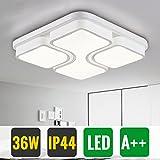 HG 36W LED Deckenleuchte Flur Kaltweiss Schlafzimmer Leuchte Weiß IP44 Quadratisch Flurlampe Esszimmer Lampe Gang Eckig Küchenleuchte[Energieklasse A++]