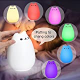Children Night Light,SOLMORE LED Cute Silicone Cat Lamp Kids Bedside Lights Warm White 7-Colour changing USB Rechargeable Sensitive Tap Control for Baby Bedroom Nursery Birthday Gift