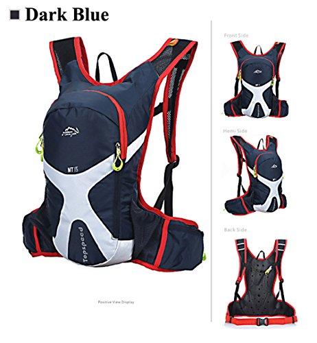 West Biking Fahrradrucksack, 15l, Radfahren, Rucksäcke, Fahrrad, MTB, Rennrad, Taschen, Wandern, Camping, Tagesrucksack, Tasche für Trinkflaschen Gelb - dunkelblau