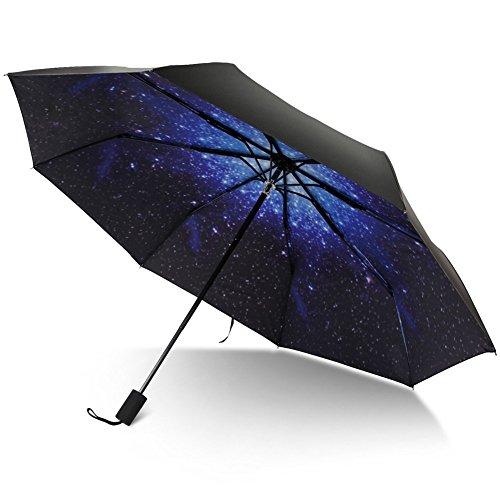 TRADE 8 Nervure Voyage Parapluie 3 Foldable Waterproof Galaxy Motif Parapluies Avec Poignée Confortable Paraplu