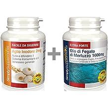 Aglio inodore 2mg|360 Capsule + Olio di Fegato di Merluzzo