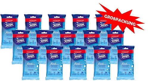 Tempo fresh to go Classic Riesenpackung (15 Packungen x je 10 Tücher)