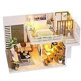 Puppenhaus Miniatur Haus DIY House mit LED Licht, Puppenhaus Bausatz Holz Modell Set Creative Mini Studio Room Geburtstagsgeschenke für Mädchen