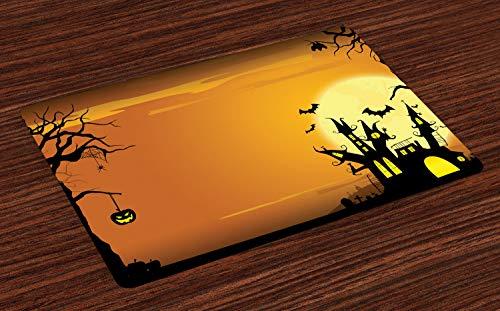 ABAKUHAUS Halloween Platzmatten, Gothic Spukhaus Fledermäuse Western Spooky Night Scene mit Kürbis Zeichnung Kunst, Tiscjdeco aus Farbfesten Stoff für das Esszimmer und Küch, Orange Schwarz