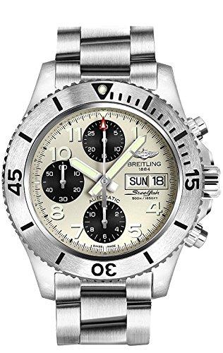 Breitling suprocnchrn Hombres Dial de plata banda de acero inoxidable reloj de pulsera–a13341C3-g782–162A