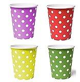 50 x Becher 230ml dots (rot, gelb, grün, lila) Punkte, Pappbecher, Einwegbecher für Getränke Snacks Heiß- und Kaltgetränke