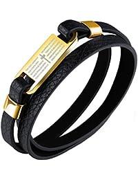 bigsoho Rétro Croix en acier inoxydable homme bracelet en cuir bracelet  surfeur Bijoux à enrouler 175 869b02ab0a1d