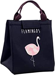 Lunch Bag with Printed Design and Aluminum Insulation with Handle Straps (Black Flamingo)