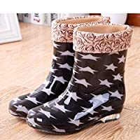 FDDSSYX Rainboots For Women,Womens Wellies Waterproof Ladies Fashion Pentagram Printed Short Tube Wellington Rain Shoes Warm Thicken Rain Boots Music Festivals Water Boots