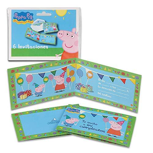 Pack 6 einladungen Peppa Schwein, ohne Umschlag. Einladungen für Partys und Geburtstage ()