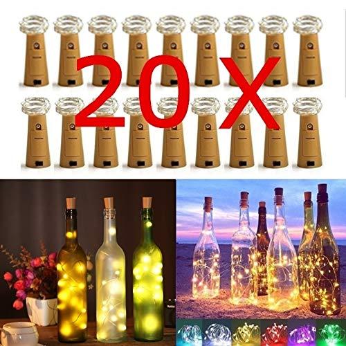 JNYUTECH 20Leds Wine Bottle Cork Lights Copper Wire String Lights for Wedding Festival Party Decor