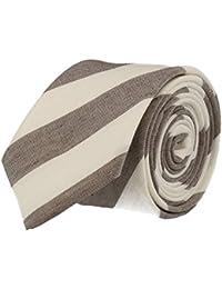 Strellson cravate étroite gris blanc rayé 6 cm