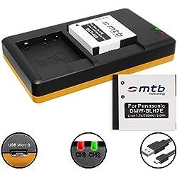 2 Batteries + Double Chargeur (USB) pour DMW-BLH7(E) / Panasonic Lumix DMC-GF7 / DMC-GM1, GM5 / DMC-LX15 / DC-GX800 - Cable Micro-USB inclus