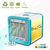 Mobile Klimaanlage, KACOOL Mobiles Klimagerät Air Cooler Luftkühler Befeuchter Ventilator mit USB Anschluß, 3 Kühlstufen - 3 in 1 Mini Klimaanlage Ventilator, Luftbefeuchter und Luftreiniger (Blau)