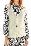 Frauen Elegant Stricken Knöpfe Jacke Weste Westen Mit Taschen White One Size