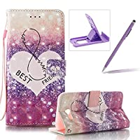 For Samsung Galaxy J7 2017 Case,For Samsung Galaxy J7 2017 Strap Cover,Herzzer Stylish Luxury 3D Special Effects [Best Friends Pattern] Book Style Premium PU Leather Wallet Deisgn with Card Holder Slots Magnetic Closure Smart Stand with Inner Soft Rubber