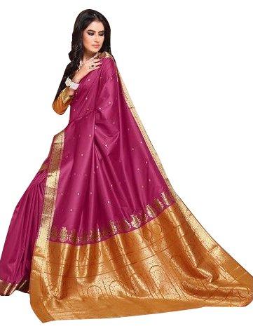 Craftsvilla Women's Bangalore Silk Jacquard Maroon Saree with blouse piece