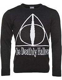 Harry Potter Camiseta Hombre Smoky Deathly Hallows Elven Forest Algodón Negro