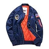 Herren Übergröße Leichtgewich Jacke Bomberjacke MA1 Fliegerjacke Sportbekleidung Fahrradjacke Mantel Windjacke (Blau, X-Large)