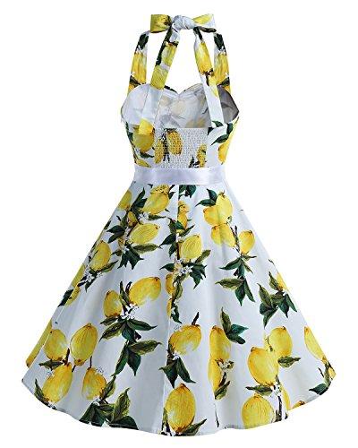 Bbonlinedress 1950er Neckholder Vintage Retro Rockabilly Cocktail Party Kleider Lemon
