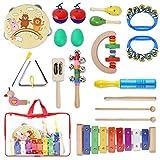 YISSVIC Instruments de Musique pour Enfants, 19Pcs Set Musical Composé de Tambourins, Xylophone, Maracas, Castagnettes, Cymbales, etc. Jouets Bois avec Sac de Transport pour Enfants 3 Ans+