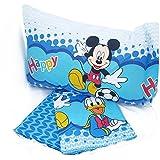 Juego de cama de Mickey Mouse de Disney Donald Happy Juego de cama 3 piezas anteriormente con funda de almohada reversible de dibujo piazzato puro 100% algodón puro producto italiano