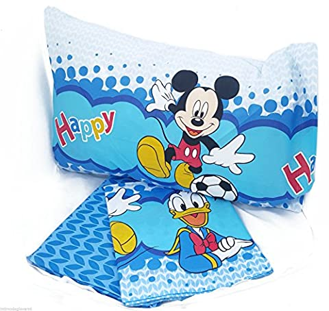 Bettwäsche Disney Mickey Donald Set Mickey Happy Bettwäsche 3Teilig Spannbettlaken Kissenbezug Double Face Puro A (Letto Disney)