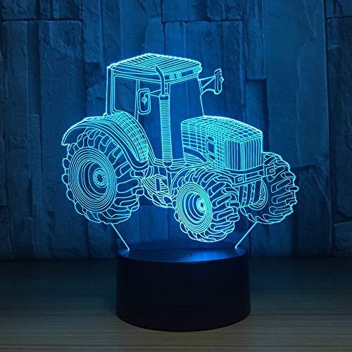 ZNNBNG 3D Lampe Traktor 3D Led Lampe Deko Licht Traktor Form Usb Touch Schalter Lampe 7 Buntes Nachtlicht (Emittierende Panel Lampe Licht)