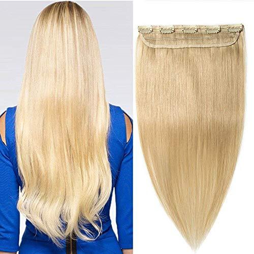 S-noilite clip extension capelli veri remy 100% remy human hair 1 fascia 5 clips larga 25cm lunga 45cm 613# biondo chiarissimo
