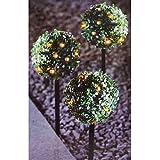 Buri LED-Solar-Buchsbaumkugeln 3er-Set