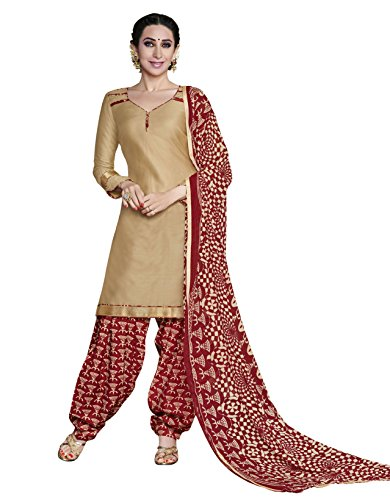 Kimisha Beige Printed Glaze Cotton Patiala Salwar Suit Dress Material